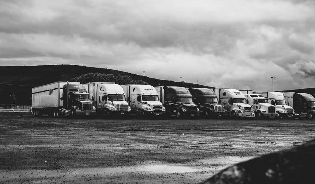 Several moving trucks