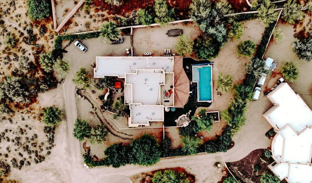 Overhead view of an Arizona mansion