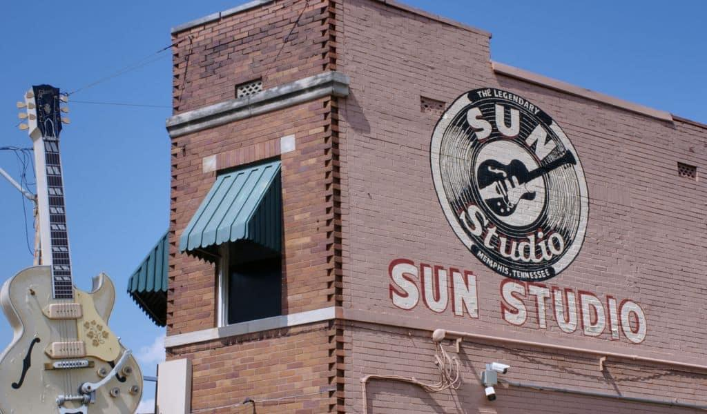 The side of a brick building in Tennessee proudly boasts that inside is Memphis' own Sun Studio