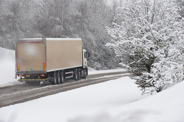 truck, snowy road, moving