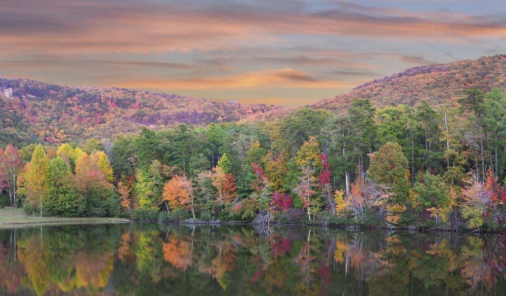 A reflected view of the trees in the Lake at Cheaha State Park, Alabama
