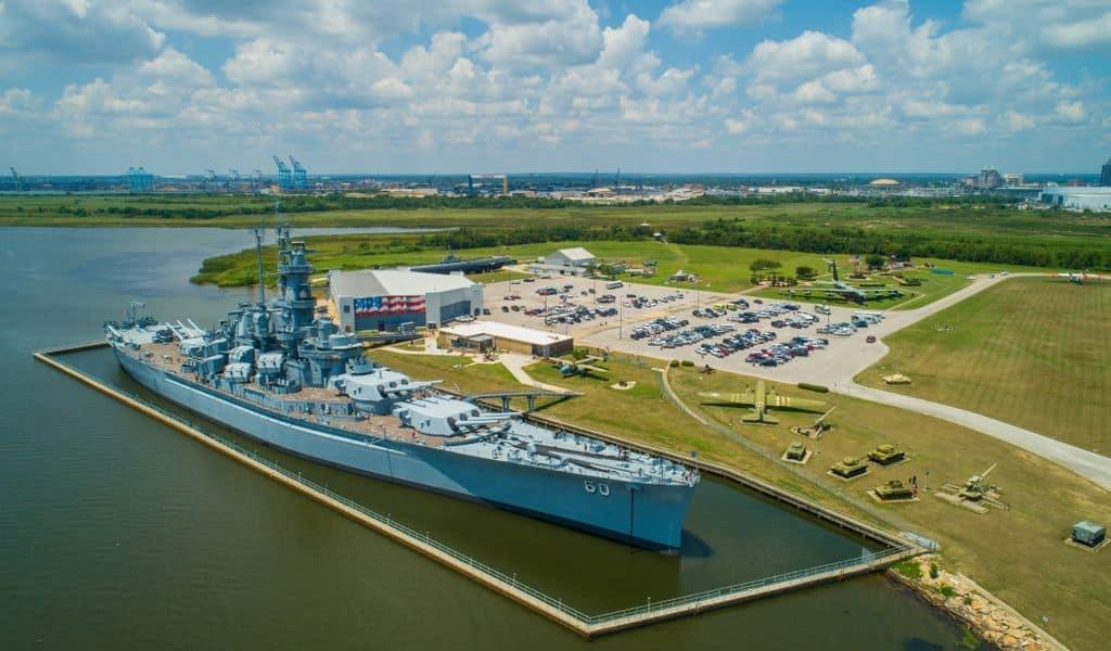 The Aerial image of the USS Alabama at the Battleship Memorial Park