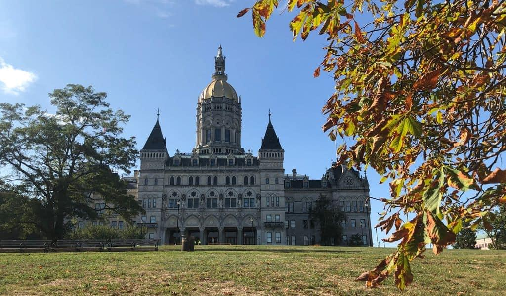 Front view of the State Capitol building at the Bushnell Park, Hartford, Connecticut