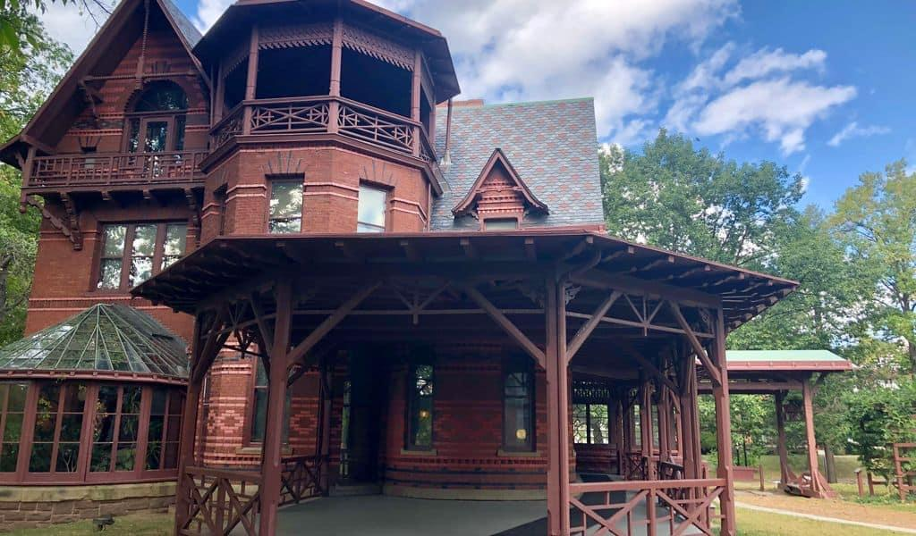 Front porch of the Mark Twain House in Hartford, Connecticut