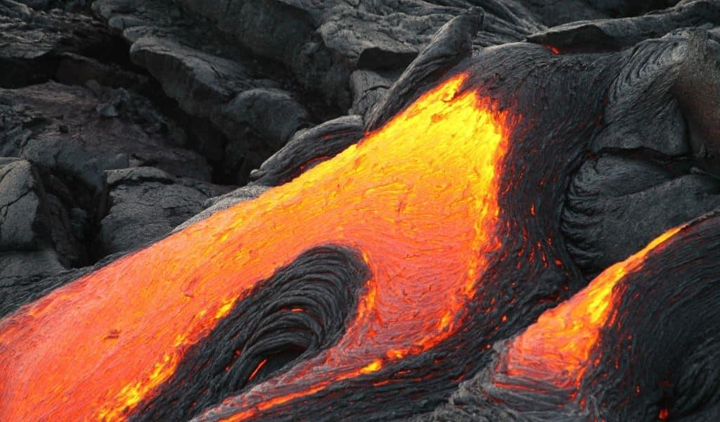 Volcanic lava erupting from a volcano