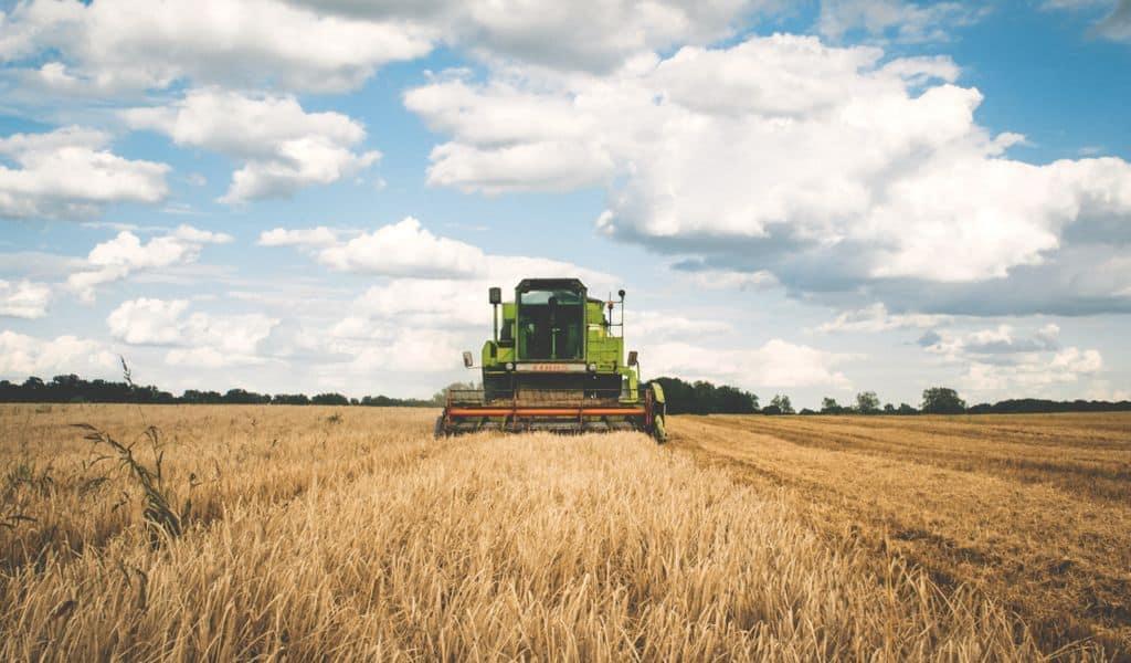 Green tractor plowing fields.