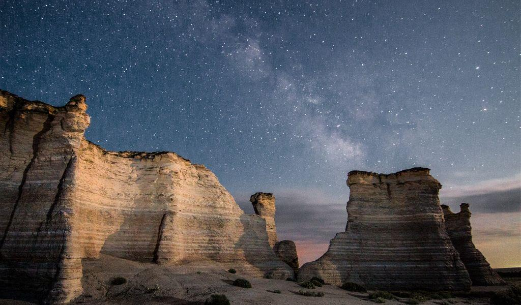 Beautiful starry night at the Monument Rocks in Kansas