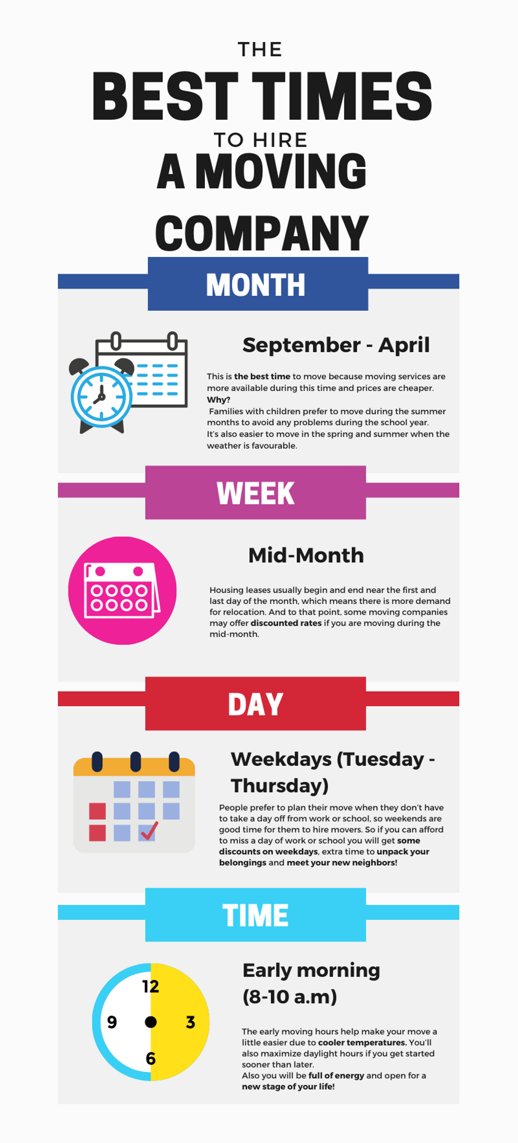 The best time to hire a moving company infographic