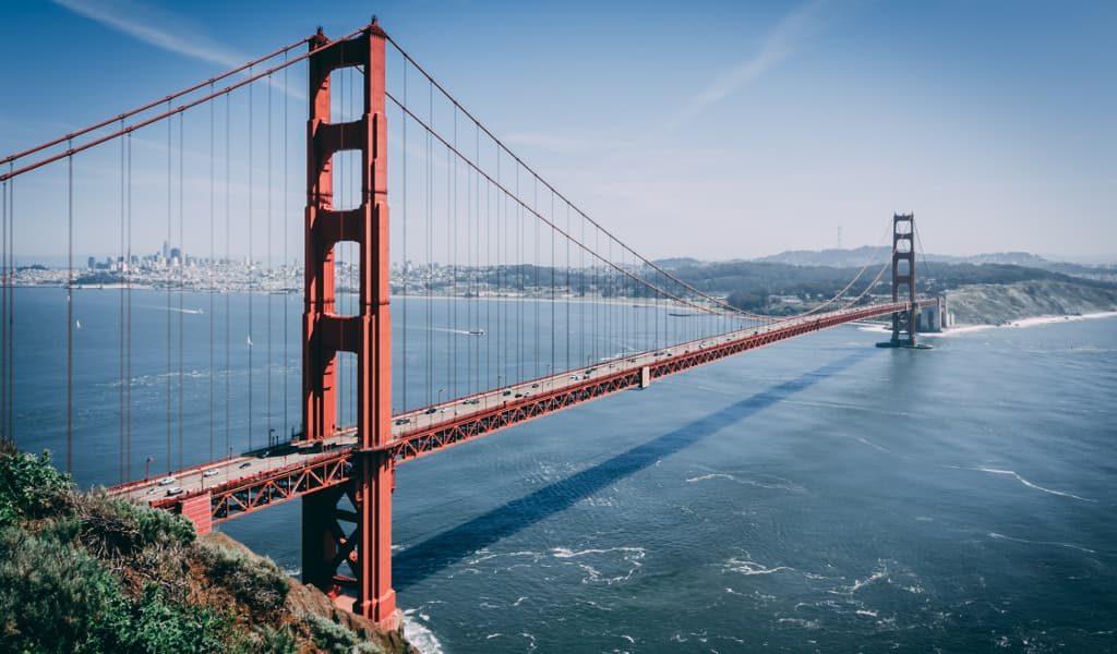 The Golden Gate Bridge during sunset