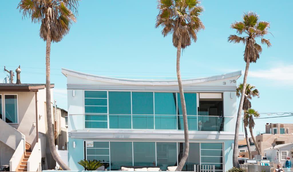 Beautiful white beachfront home in California