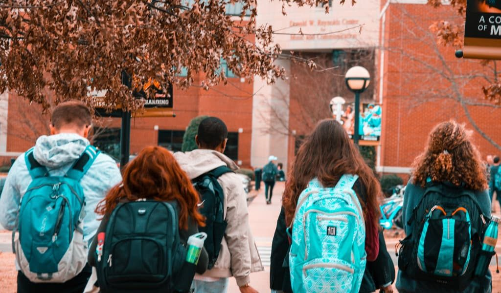 Five college students wearing backpacks with their backs facing the camera