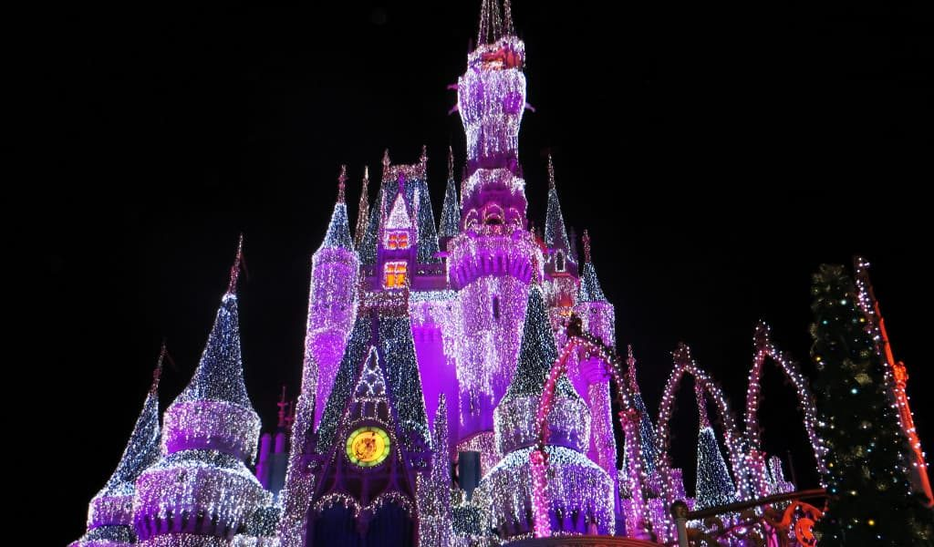 Pink, white and purple illuminated castle in Disney World