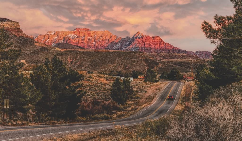 A road of Zion National Park in Utah