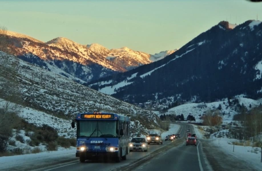 A Public Bus in Wyoming in winter snow