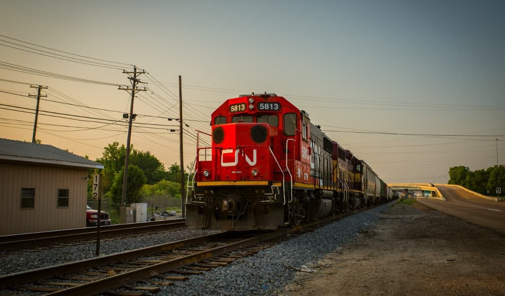 A moving red train in Jackson city
