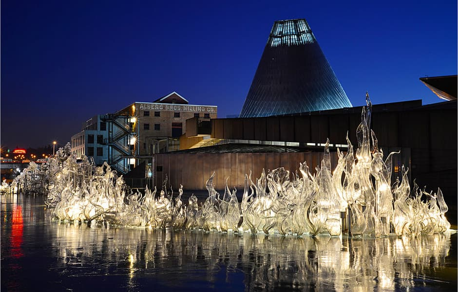 Museum of Glass, Washington. Glass reflecting on a pool at night