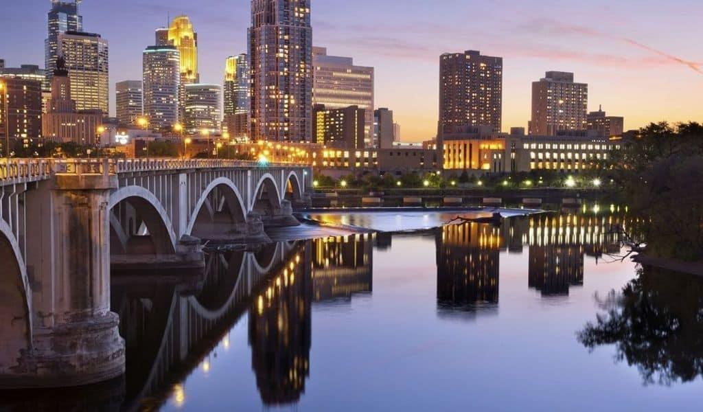 Golden Lights Adorn the City of Minneapolis - Minnesota