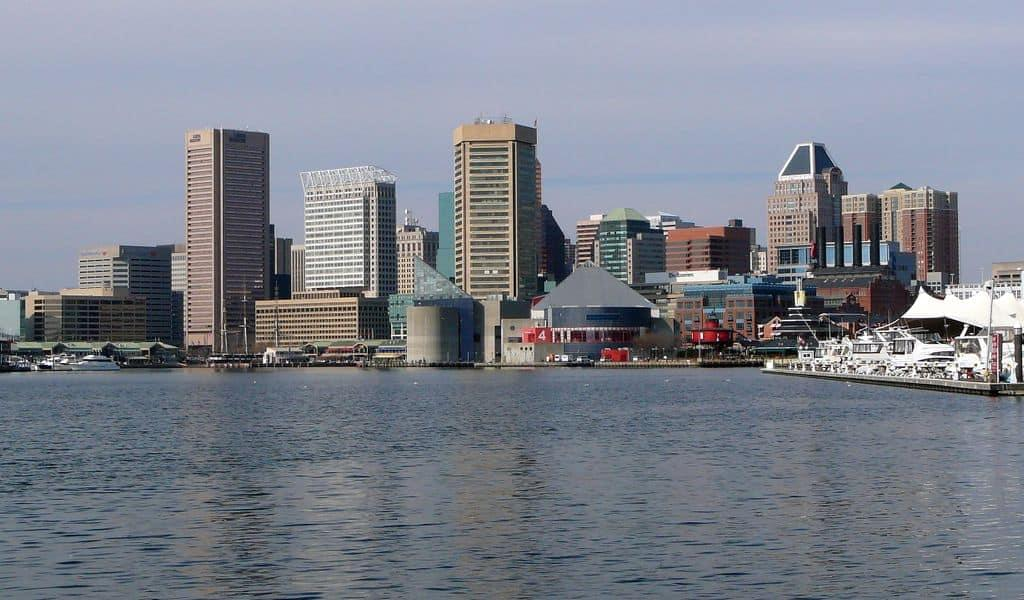 Front view of the Inner Harbor, Baltimore