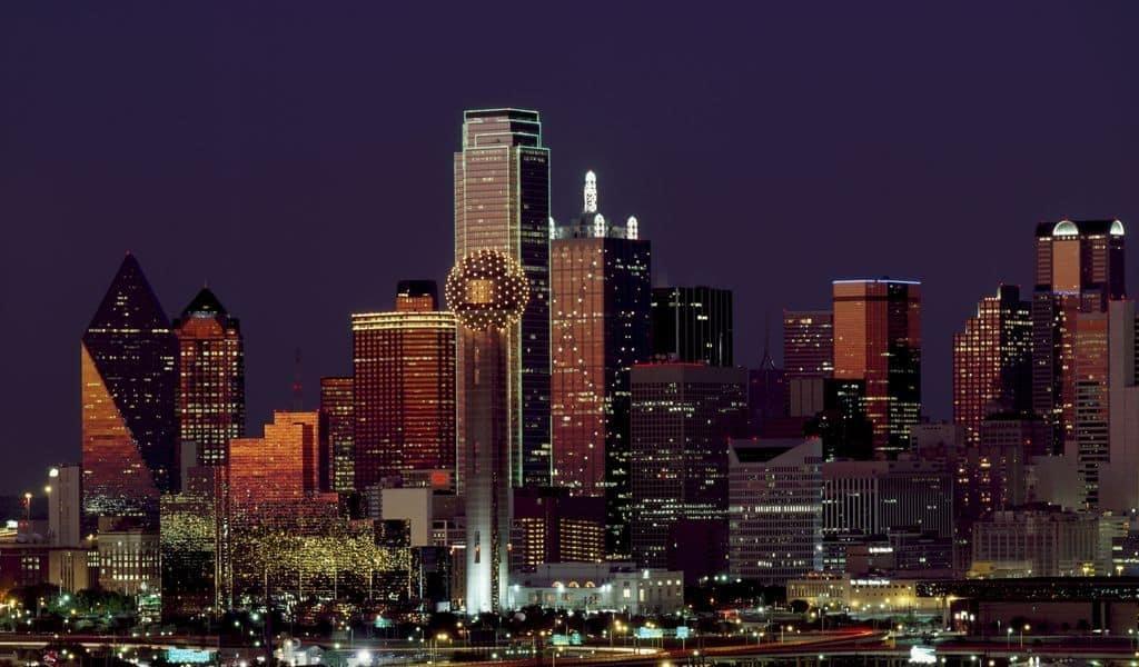 Landscape lights skyline buildings in Dallas, Texas